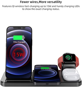 (S605)Wireless Charger, Coobetter 4 in 1 Wireless Charging Station with Adapter, Wireless Charging Stand for AirPods Pro,Watch, Compatible