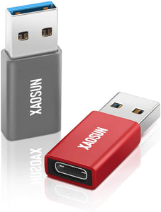 (D081) USB to USB C Adapter [2 Pack] - XAOSUN 3.0/3.1 USB A to USB Type