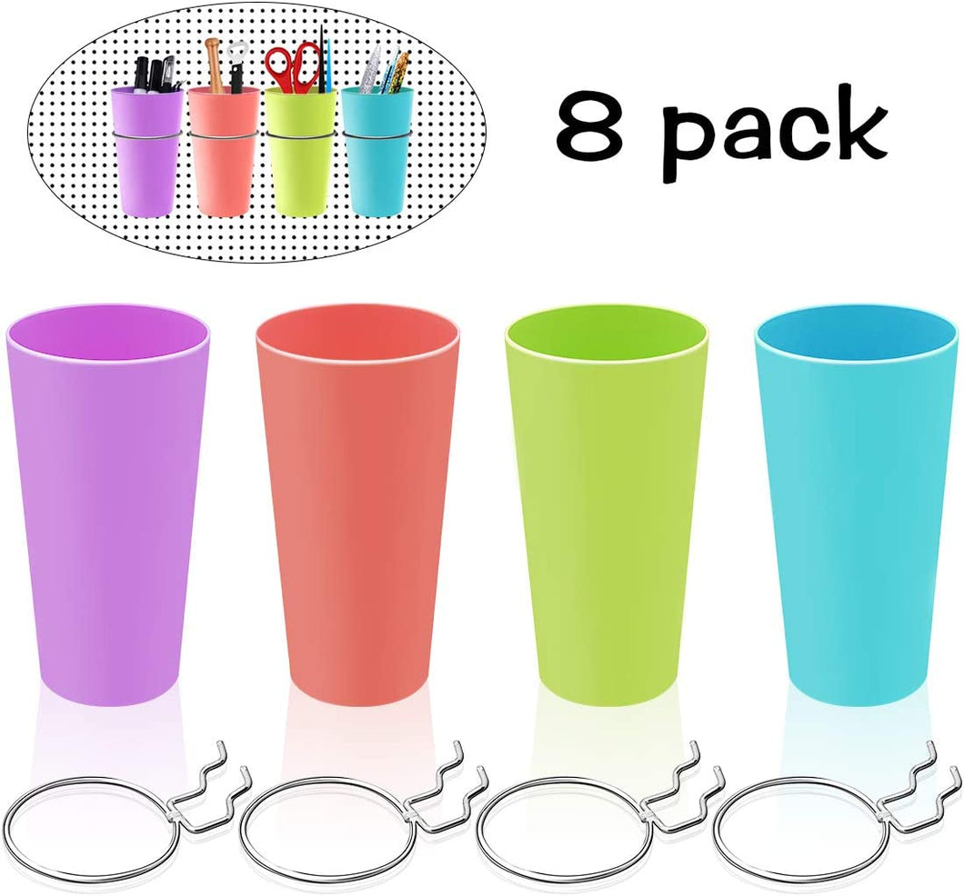 (Q964)4 Sets Pegboard Bins with Rings, Ring Style Pegboard Accessories with Pegboard Cups Holder Accessories for Organizing for Your Tool Shed, Garage, Workbench, Craft Room
