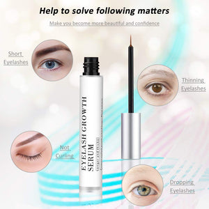 Eyelash Growth Serum, Lash and Eyebrow Enhancer, Lash Boost Serum for Rapid Growth, Natural Eyelash Enhancing Formula for Fuller, Longer, Thicker Looking Eyelashes and Brows 5ml (White)