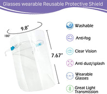 Load image into Gallery viewer, (X033)5 PCS Glasses Style Visor Transparent Anti-Fog Layer Anti Air Dust Cover Reusable Lightweight Fashion for man and women