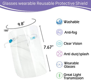 (X033)5 PCS Glasses Style Visor Transparent Anti-Fog Layer Anti Air Dust Cover Reusable Lightweight Fashion for man and women