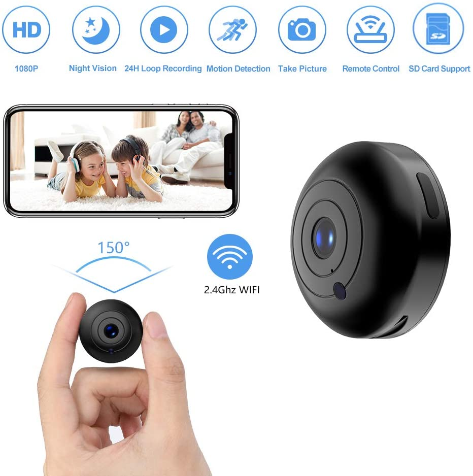 (F069)Mini Hidden-Camera WiFi-Spy Camera Wireless 1080P, Oucam Small Spy Cam Nanny Cam with Audio and Video Recording Micro Surveillance Camera