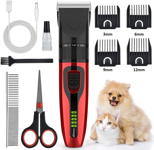 (D112) AUSHEN Dog Clippers, Dog Grooming Clippers Kit Low Noise Pet Hair Clippers USB Rechargeable