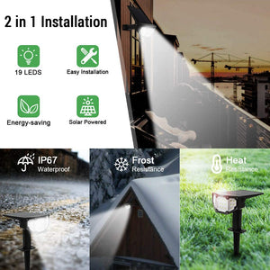 (d178)Solar Spotlights Outdoor Solar Landscape Lights Dusk to Dawn Outdoor 19 LED