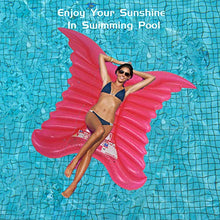 "Load image into Gallery viewer, (S348)Inflatable Swimming Float, 77""x61"" Giant Mosaic Angel Wing Pool Lounger Raft, Inflatable Water Lounge Butterfly Wings, Swimming Pool Party..."