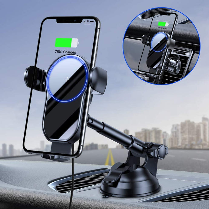 (W099)[2021 Upgraded] Miracase Wireless Car Charger, 15W Qi Fast Charging Auto Clamping, Car Phone Holder Mount Charger