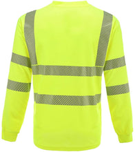 Load image into Gallery viewer, Safety Shirt Long Sleeve with Breathable Thermo Print Reflective Stripes Yellow XL