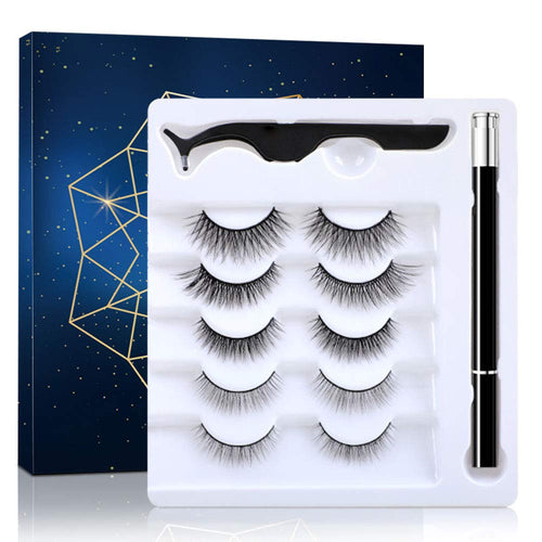 (V020)5 Pairs Lashes and Eyeliner Set Upgraded Reusable Waterproof Eyeliner