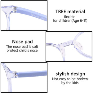 (T520)Kids Round Glasses Eyewear Safe Frame for Teens Flexible Cute with Clear Lens for Boys Girls(Age 5-12)