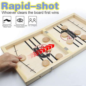 (e764)Fast Sling Puck Game Large Size & Wooden Chess Set (2 in 1), Folding Wooden Hockey Game for Adults and Kids