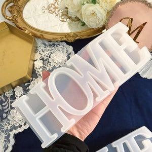 (R742)Home Letter Silicone Resin Mold, Epoxy Resin Casting Mold, Warm Family Word Mold for DIY Craft,Wedding, Table Decoration, Christmas