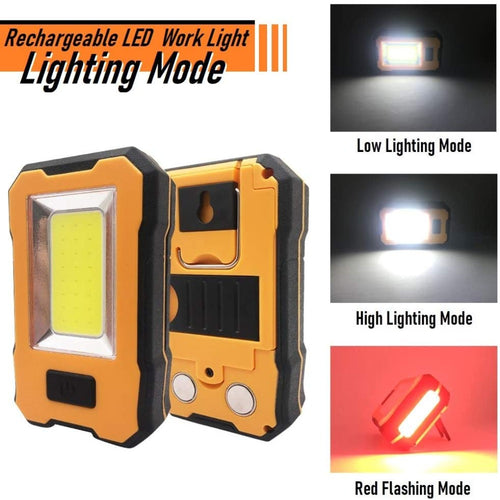 (C700)Rechargeable LED Portable Work Light 1200LM Super Bright COB Mechanic Light Built-in Power Bank Magnetic Base & Hanging Hook for Camping