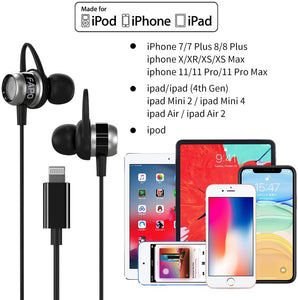 (T334)Lightning Earphones Earbuds Headphones Compatible iPhone 11 Pro Max iPhone X XS Max XR iPhone 8 Plus iPhone 7 Plus, MFi Certified Wired Earphones Built-in Microphone Volume Controller
