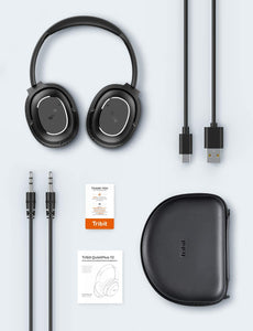 (E908)Tribit QuietPlus 72 Active Noise Cancelling Wireless Headphones - 32dB Hybrid Active Noise Cancellation, CVC8.0 Hi-Fi Sound, 30 Hrs Playtime, V5.0, USB-C Foldable Over Ear