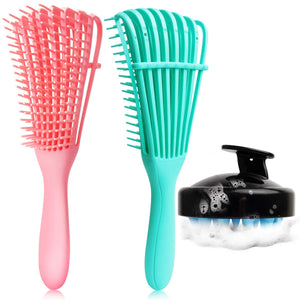 (R472)3 Pack Detangling Brush Set, Detangler Brush for Natural Black Hair Curly Hairk, Dry and Wet, Hair Scalp Massager Shampoo Brush, Hair Detangler for Afro America 3A
