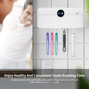 (T350)Jiandi UV Toothbrush Holder, Bathroom Toothbrush and Razor Holder Wall Mounted, 5 Slots Bathroom Storage Organizer for Family Toothbrushes and Razor