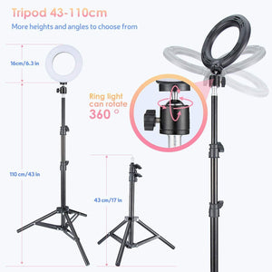 (T201)VicTsing Ring Light with Tripod Stand, Selfie Light Kit for Phone,Dimmable Beauty Ringlight for Live Stream/Makeup/YouTube Video, Video Light