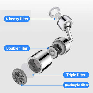 (Q837)AmazeFan 720° Degree Swivel Sink Faucet Aerator, Big Angle 2.5 GPM Large Flow Aerator Dual Function Kitchen Faucet Aerator, Polished Chrome