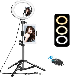 "(R807)10"" Selfie Ring Light with Tripod Stand & 2 Phone Holder, ELEGIANT Led Ring Light with Remote Ringlight for Live Stream Makeup YouTube Tiktok Photography Compatible"
