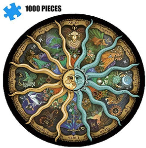 (R829)Adult Jigsaw Puzzle 1000 Pieces-Chinese Zodiac, Educational Intellectual Decompression Round Fun Jigsaw Puzzle, Children Adult Family Game
