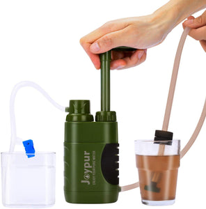 (e883)joypur Portable Outdoor Water Purifier Camping 0.01 Micron Emergency Backpacking Water Filter for Hiking with 3-Stage Filter Pump