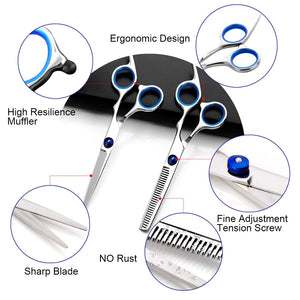 (W176)Hair Scissors Set Hair Cutting Scissors Professional Anti Rust Scissors Hair Cutting Thinning Shears Yoeegy Stainless Steel Barber Scissors