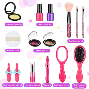 (A969)BASEIN 14 PCS Pretend Makeup for Girls, Fake Make Up Kits for Toddler with Cosmetic Bag - Pretend Play Makeup Kit