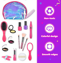 Load image into Gallery viewer, (A969)BASEIN 14 PCS Pretend Makeup for Girls, Fake Make Up Kits for Toddler with Cosmetic Bag - Pretend Play Makeup Kit
