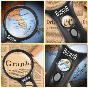 (R639)Magnifying Glass with Light, BUSATIA LED Illuminated Magnifier with 3X 45X High Magnification, Lightweight Handheld Magnifying Glass