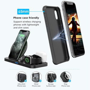 (E692)  Wireless Charger 3 in 1 Charging Station for Apple Watch and Airpods Qi Fast Wireless Charger
