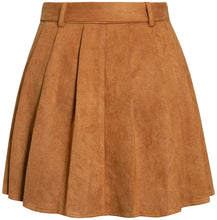 Load image into Gallery viewer, (Y540)Simplee Women's Pleated Mini Suede Skirt High Waist A-Line Flared Mini Skater Skirt