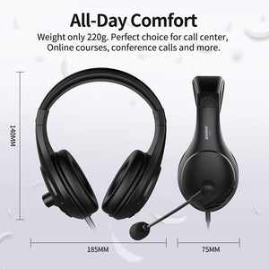 (V662)SOMIC 2 Pack Computer Headset, PC Headsets Over-Ear Headphones with Microphone for Desktop, 3.5MM Wired Headphones with Volume Control