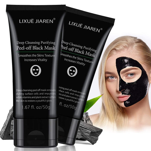 (Q268)Blackhead Remover Mask, 2 Pack Peel Off Blackhead Mask, Pufifying Black Mask - Deep Cleansing Facial Mask for Face & Nose Charcoal Face Mask