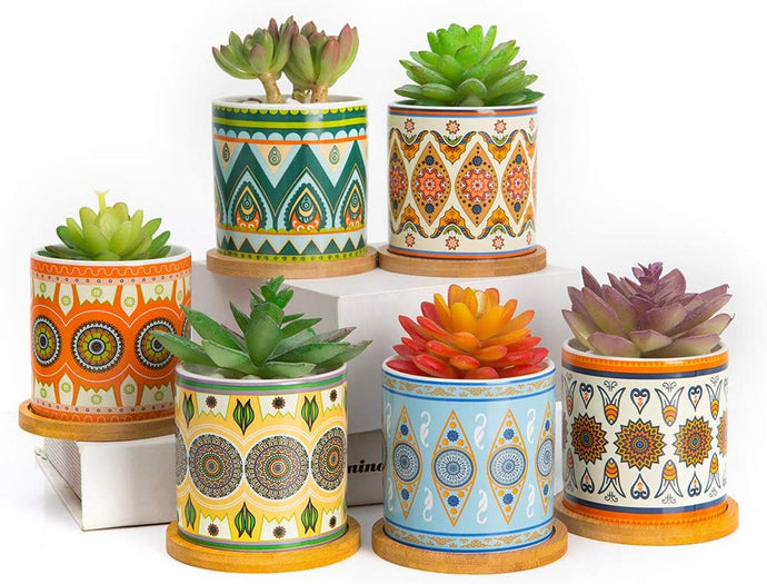 (Y685)Lihebcen Succulent Plant Pots - 3.5 Inch Mandalas Pattern Cylinder Ceramic Succulent Planter for Cactus with Drainage Hole, Bamboo Trays, Idea, Set of 4 (4 Pack)