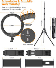 Load image into Gallery viewer, (H821)18in Ring Light with Stand, ELEGIANT Big Ring Light Kit 55W Dimmable 2800-6000K Circle Light with Tripod Phone/Pad Holders Remote Control Carrying Bag