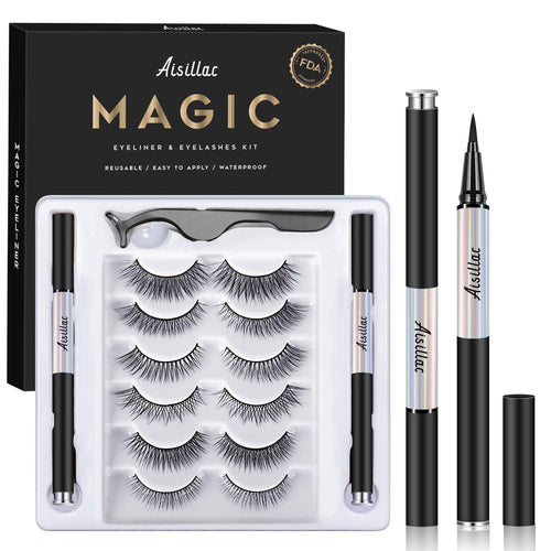 (Y860)Aisillac Eyelashes and Eyeliner Kit - No Glue Non-Magnetic Eyelashes Set, Reusable False Lashes 6 Pairs 6 Styles with 2 Liquid Eyeliners and Tweezers