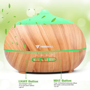 (G108)Essential Oil Diffuser,500ML Ultrasonic Diffuser with 8 Aromatherapy Essential Oils. Aromatherapy Diffuser 7 Color LED Lights,Waterless Auto Power Off,Cool Humidifier Mist