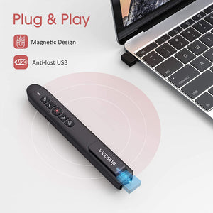 (Y343)VicTsing Wireless Presenter Remote, 2.4GHz USB Presentation Clicker Laser Pointer for Windows/Mac/Linux/Android
