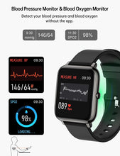 Load image into Gallery viewer, (C076)Smart Watch, Popglory Smartwatch with Blood Pressure, Blood Oxygen Monitor, Fitness Tracker with Heart Rate Monitor, Full Touch Fitness Watch