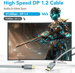 (D083)Displayport 1.2 Cable 6.6ft, XAOSUN High Speed Displayport to DisplayPort Cable, Nylon Braided 4k Display Port Cable Support 4K@60Hz, 2K@144Hz, 2K@165Hz