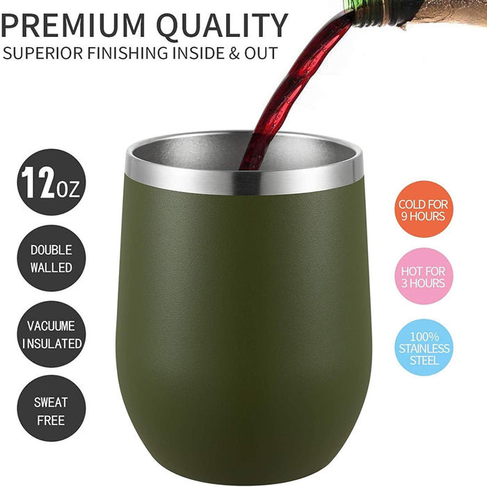 (W5110)MUCHENGHY 12 oz Stainless Wine Glass Tumbler with Lid Stainless Steel Double Wall Vacuum Insulated Travel Cup (Army Green, 1 Pack)