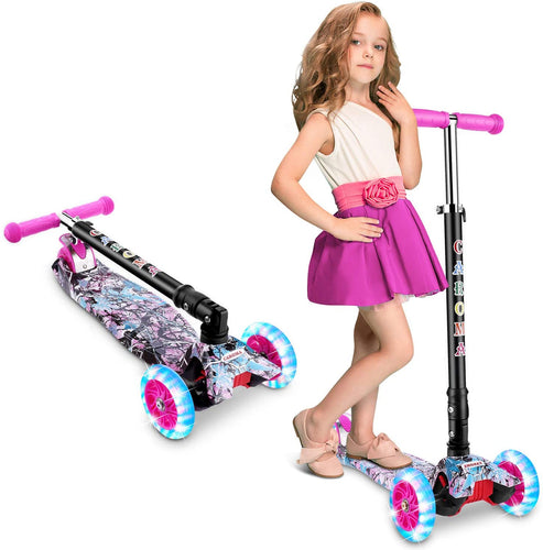 (Y940)Caroma 3 Wheel Kick Scooter for Kids & Toddlers Girls and Boys, 3 Adjustable Height, 3 PU LED Flashing Wheels with Aluminum Alloy T-Bar Scooter