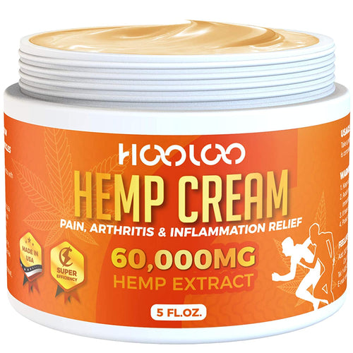 (V302)Hemp Cream, HOOLOO 60,000MG Natural Hemp Extract Cream, Fast Relief, Muscle, Joint, Lower Back, Knees, Fingers, Nerves, Made in USA, 5oz