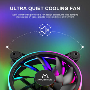 (D967)Mr.Canicula 3-Pack 120mm ARGB LED Case Fan,1262KK Quiet Edition High Airflow Adjustable Color LED PC Fan, CPU Coolers,Radiators System