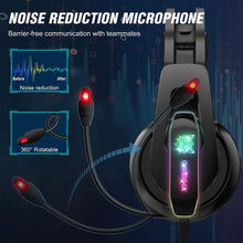 Load image into Gallery viewer, (H105)ONIKUMA Gaming Headset PS5 Headset with 7.1 Surround Sound Noise Cancelling Mic &RGB LED Light