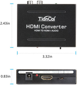 (E774) HDMI Audio Extractor 4K, Tiancai HDMI to HDMI + RCA R/L or Optical SPDIF Converter, Compatible with Chromecast Fire Stick