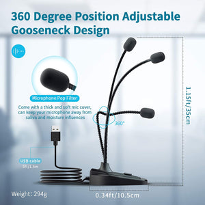 (K583)Eboda USB Computer Microphone with Mute Button,Plug&Play Condenser,Desktop, PC, Laptop, Mac, PS4,360 Gooseneck Design