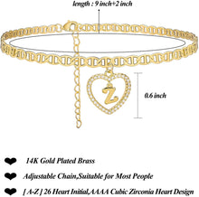 Load image into Gallery viewer, (Q491)Estendly Initial Anklet 14K Gold Plated Cubic Zirconia Heart Mariner Chain Ankle Bracelets 26 Letters Alphabet Foot Jewelry Gift for Women