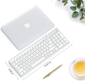 (Y020)iClever Wireless Keyboard - GKA22S Rechargeable White Keyboard with Number Pad, Full-Size Stainless Steel Keyboard Wireless 2.4G Stable Connection Wireless Keyboard